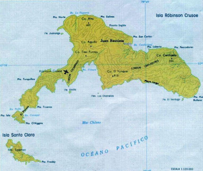 Остров Робинзона Крузо Острова Хуан Фернандез CA0ZOL Карта