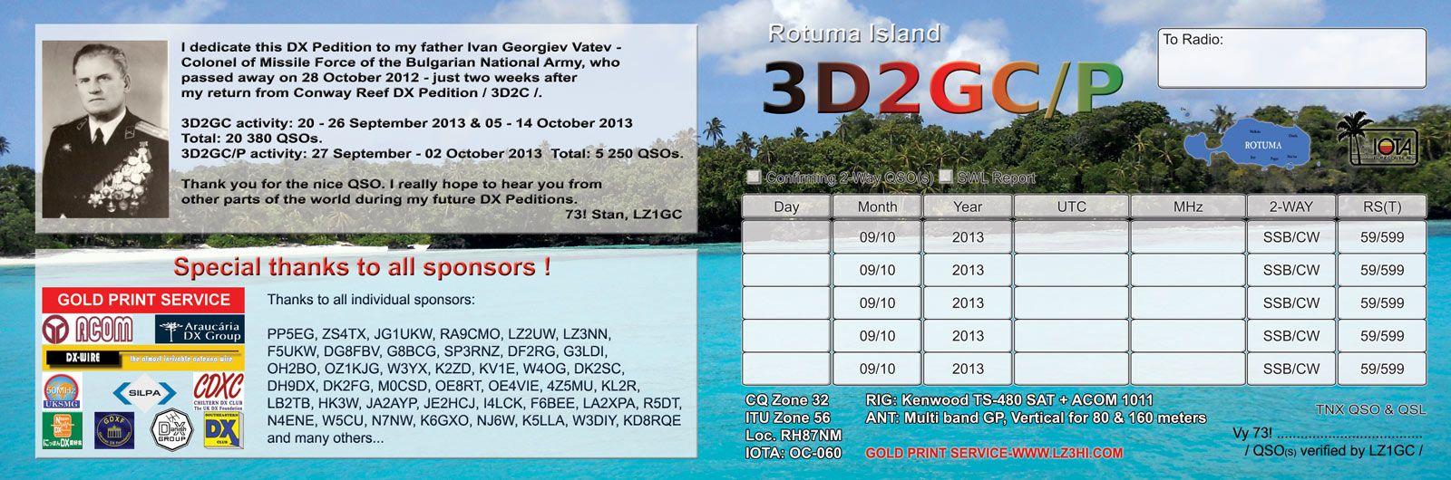 Rotuma Island 3D2GC/P QSL