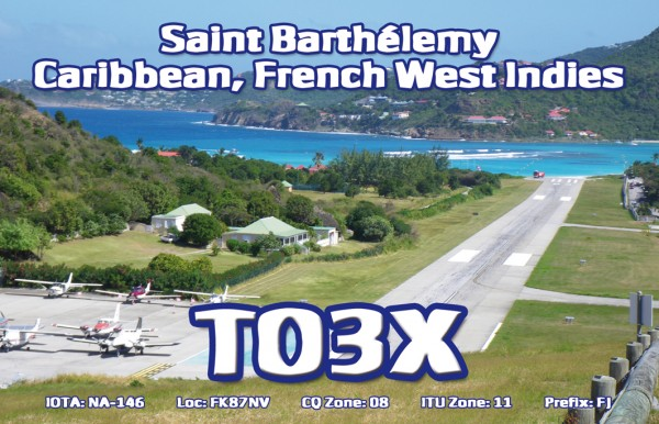 Остров Сен Бартелеми TO3X QSL