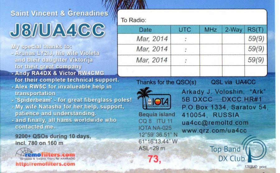 Saint Vincent and Grenadines J8/UA4CC QSL 2