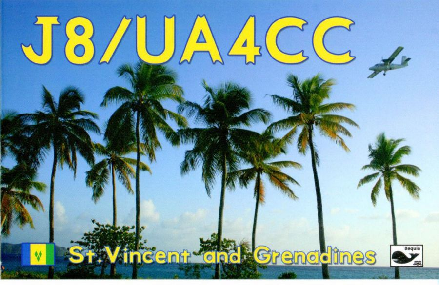Saint Vincent and Grenadines J8/UA4CC QSL -1