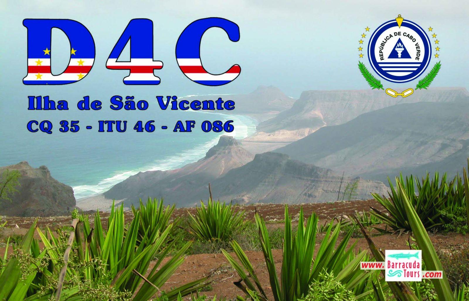 Остров Сан Висенти Кабо Верде Острова Зеленого Мыса D4C QSL