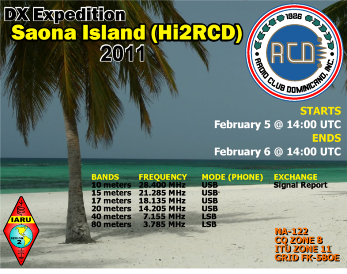 Saona Island DX News HI2RCD