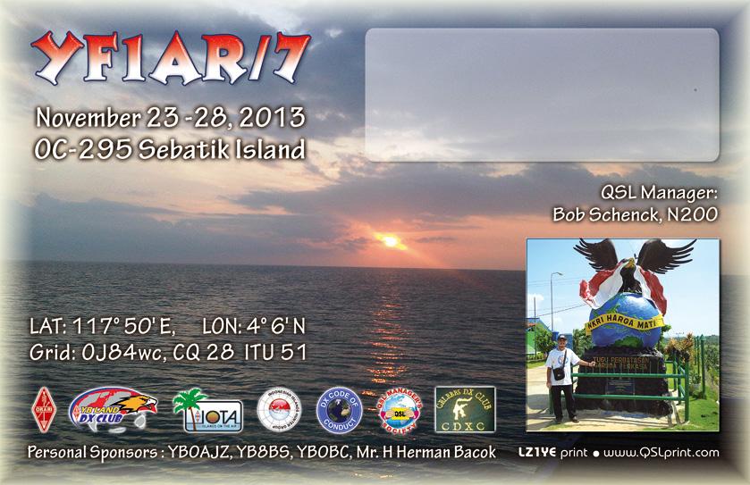 Sebatik Island YF1AR/7 QSL DX News