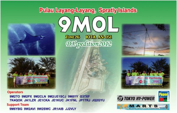 Pulau Layang Layang Island Spratly Islands 9M0L QSL