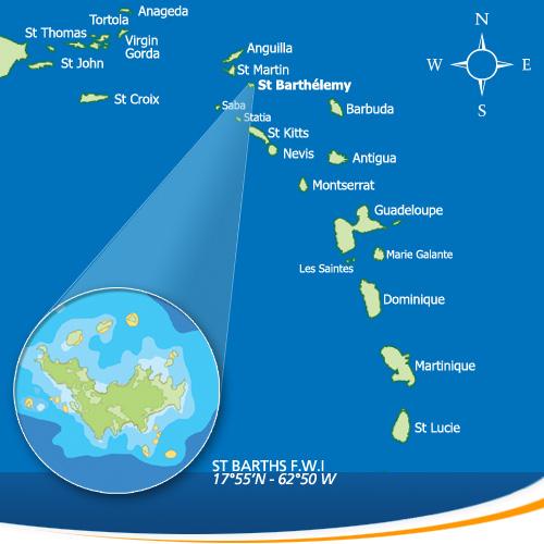 Остров Сент Бартелеми DX Новости FJ/OS1T Карта Карибских Островов