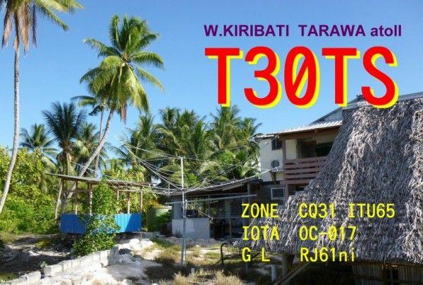 Atoll Tarawa Kiribati T30TS QSL