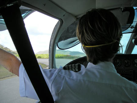VP2VVA I sat right behind the female Cape Air pilot