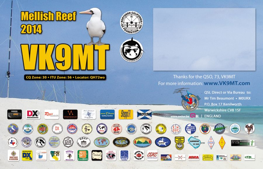 Mellish Reef VK9MT QSL Single Back 4