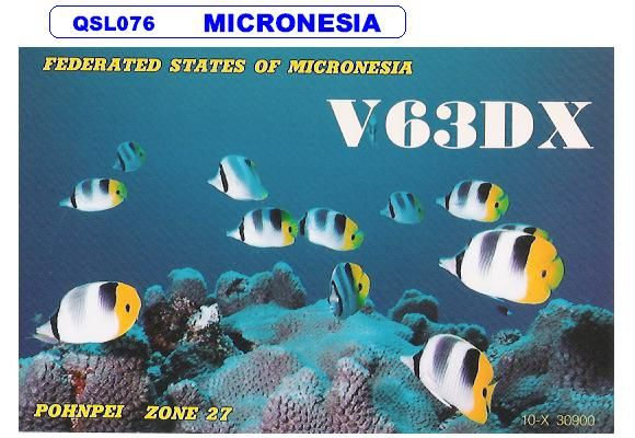 Pohnpei Island Carolin Islands Federal States of Micronesia V63DX DX News QSL