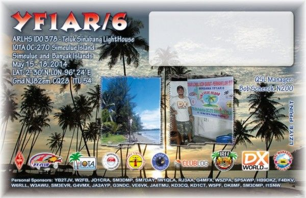 Simeulue Island Banyak Islands YF1AR/6 QSL