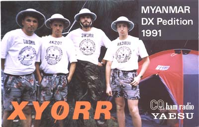 XY0RR Мьянма QSL UA9MA 4K2OT 3W3RR RA3AUU