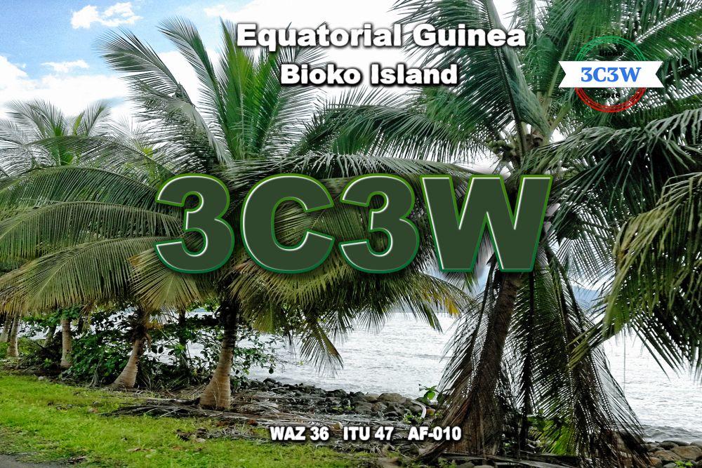 3C3W Bioko Fernando Po Island QSL Card