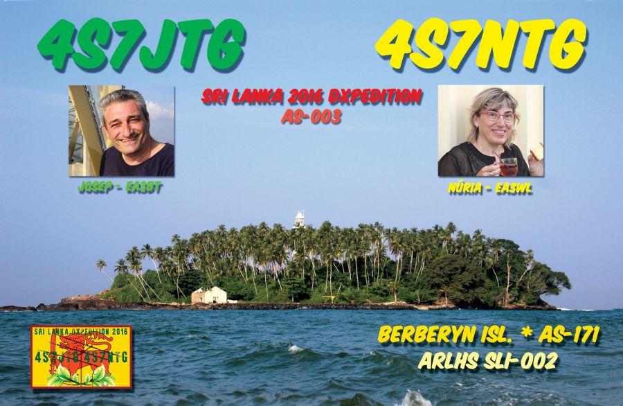 Berberyn Island 4S7JTG 4S7NTG Sri Lanka QSL.