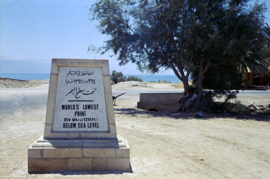4X429DS Мертвое море Указатель уровня ниже уровня моря Самое низкое место на Земле