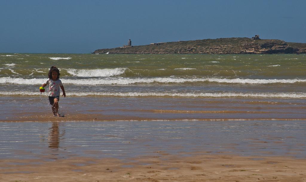5C5AF Essaouira Beach, Mogador Island, Morocco. Tourist attractions spot