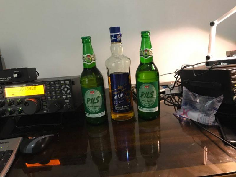 5V7P Togo News 26 April 2017 Local beer, indian whisky, plastic pack water.
