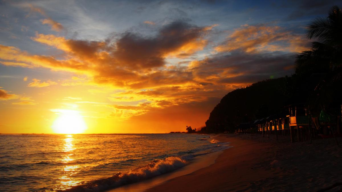 5W0LR Sunset, Lalomanu, Samoa. Tourist attractions spot