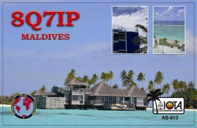 8Q7IP Hulhumale Island, Maldives. QSL Front