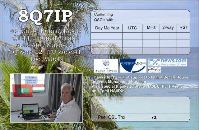 8Q7IP Maldives QSL