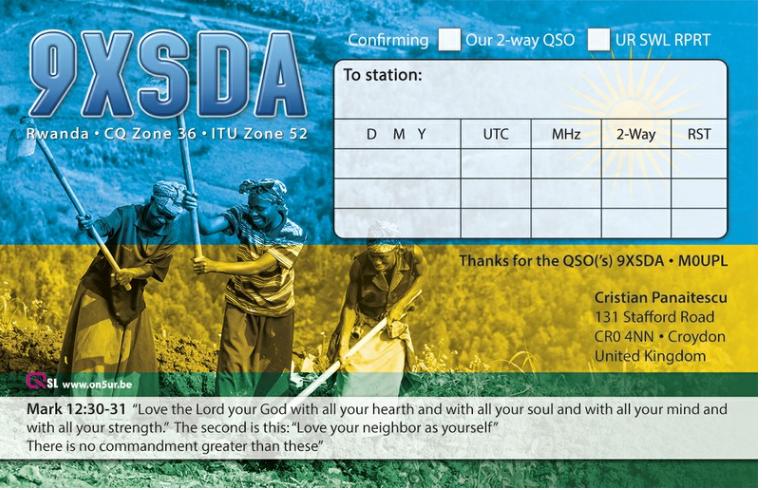 9XSDA Руанда QSL Обратная сторона.