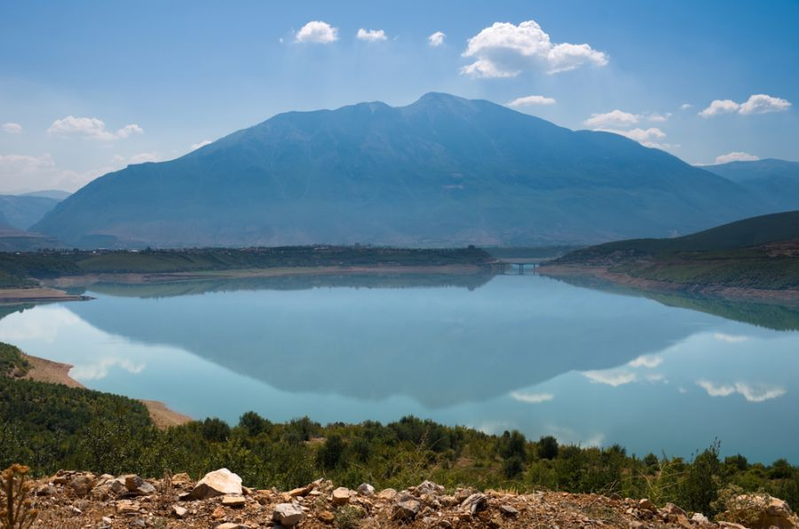 Albania ZA/OH2YY DX News Mountain reflection on the Fierza lake