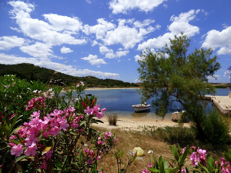Ammouliani Island SV8/LZ1UQ DX News Beach with oleanders and boat.