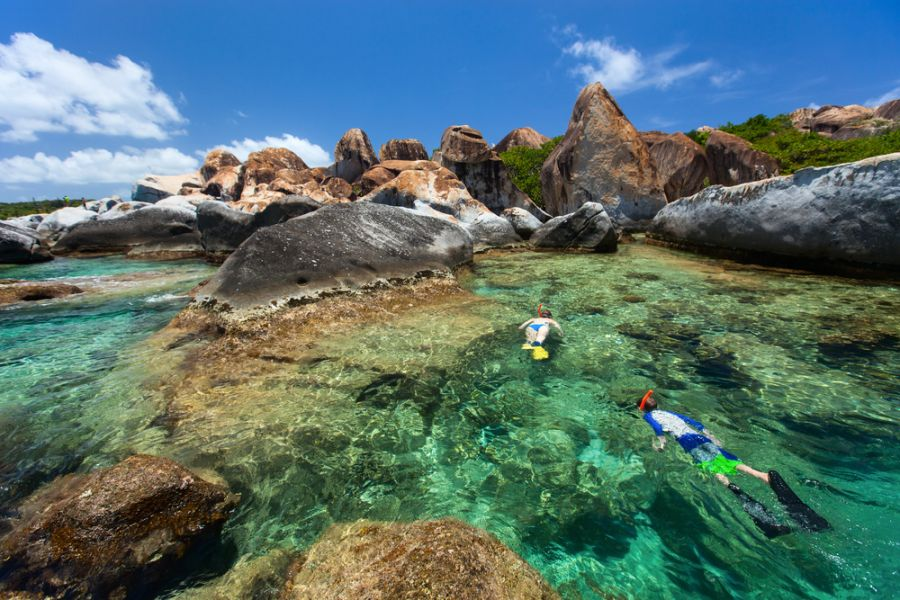 British Virgin Islands VP2VVV DX News Family of young mother and son snorkeling in turquoise tropical water