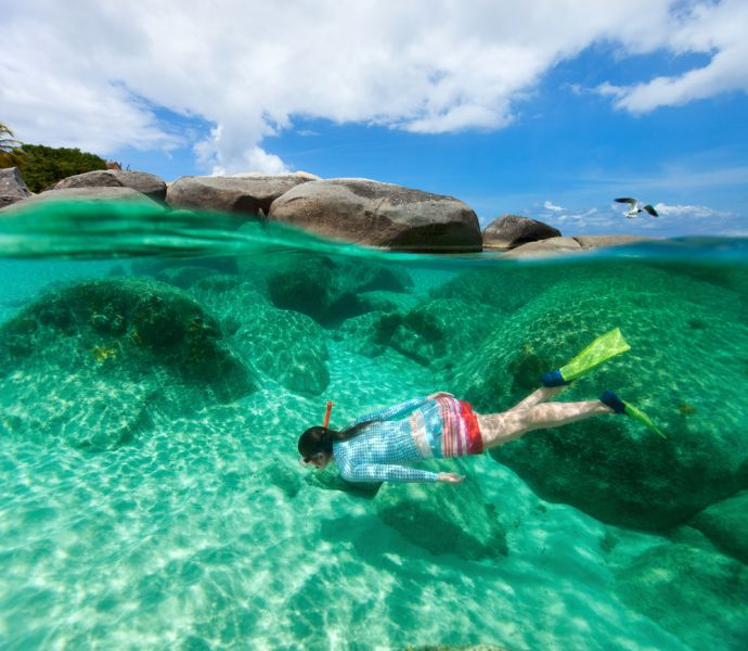 British Virgin Islands VP2VVV Tourist attractions spot Split photo of young woman snorkeling