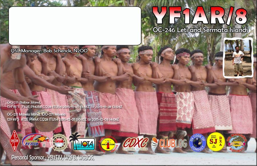 Babar Islands YF1AR/8 QSL Card