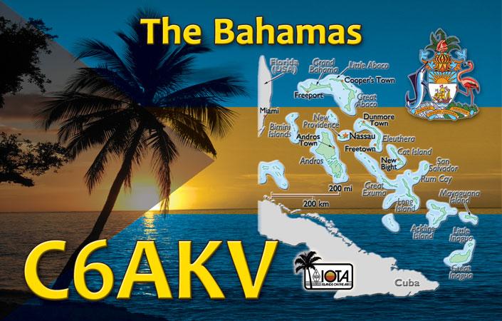 Остров Гуана Кэй Острова Абако Багамские острова C6AKV QSL Элефант Бич Хаус.