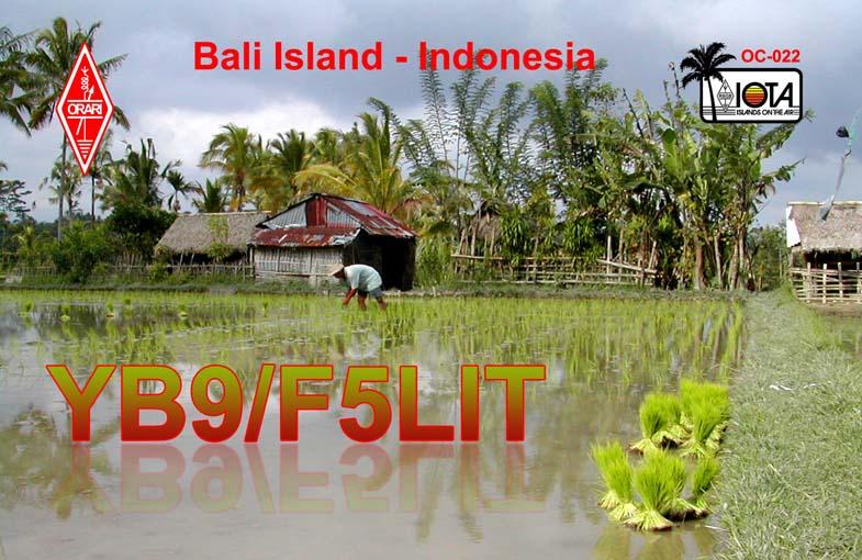 Остров Бали YB9/F5LIT QSL
