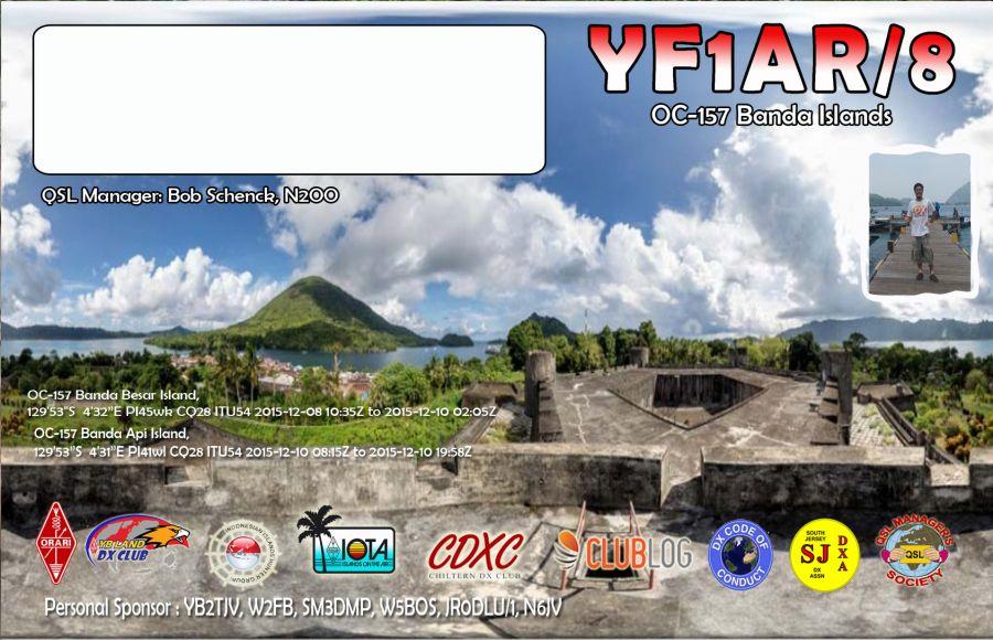 Banda Islands YF1AR/8 QSL Card