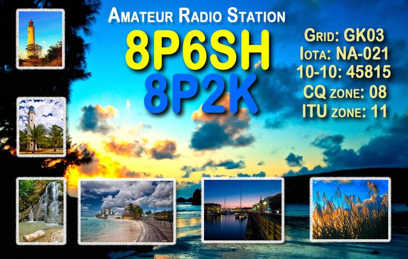 Barbados Island 8P2K 8P6SH QSL