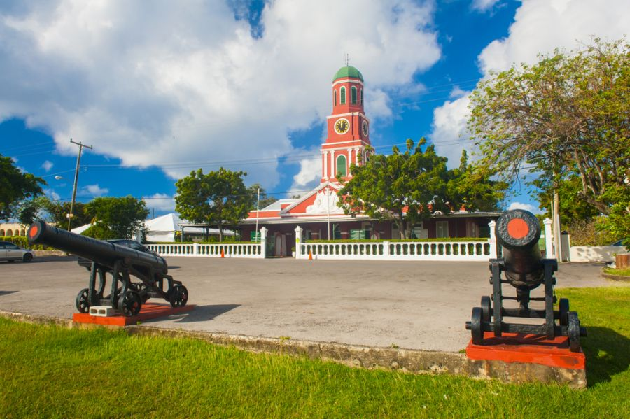 Barbados 8P9CA DX News Famous red clock tower on the main guardhouse at the Garrison Savannah.