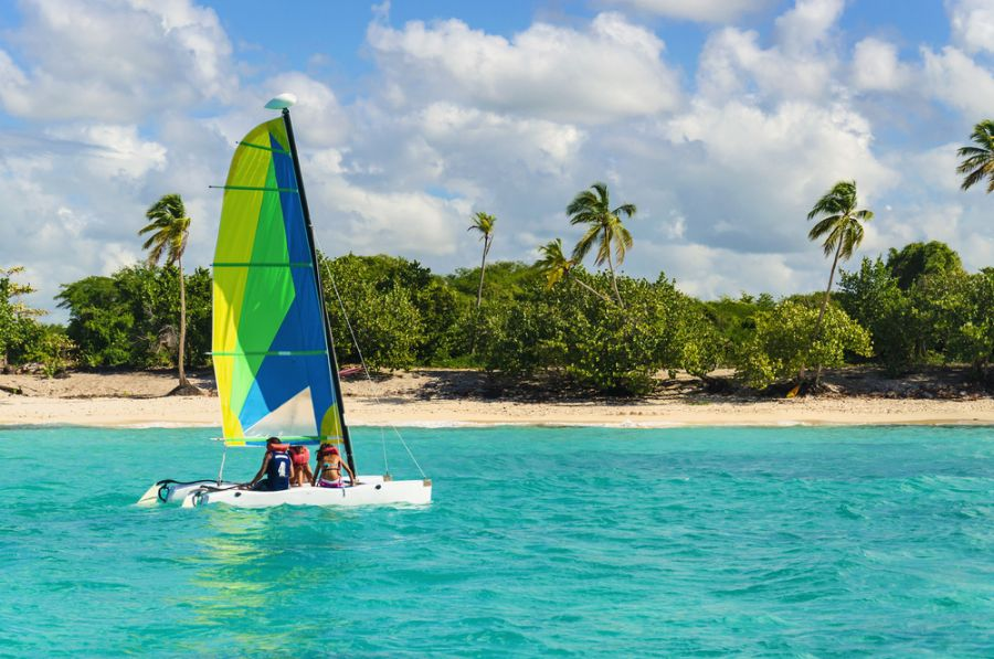 Barbados 8P9EZ DX News Catamaran on azure water