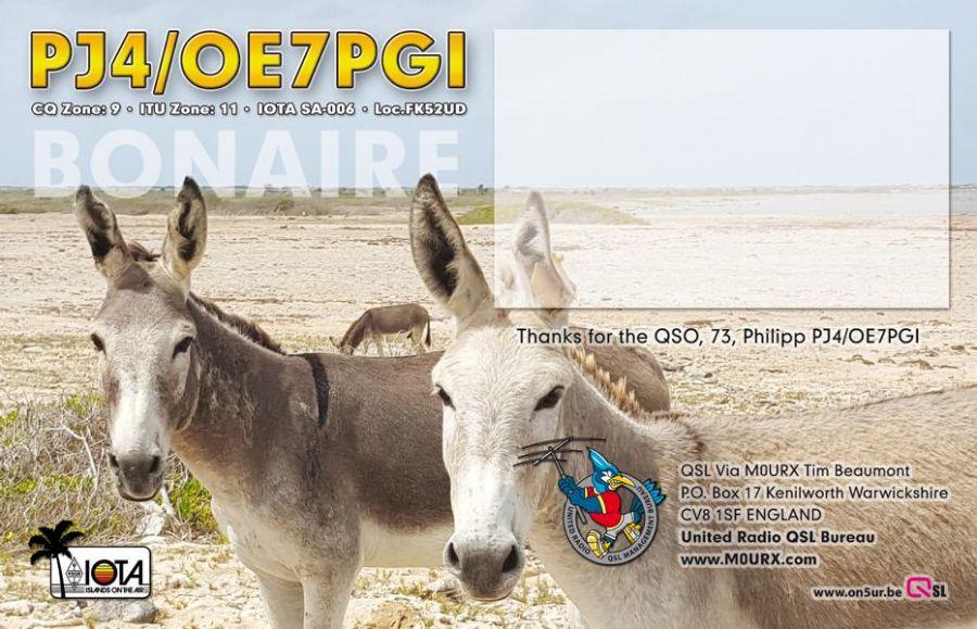Остров Бонэйр PJ4/OE7PGI QSL обратная часть
