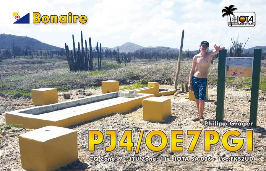 Остров Бонэйр PJ4/OE7PGI QSL