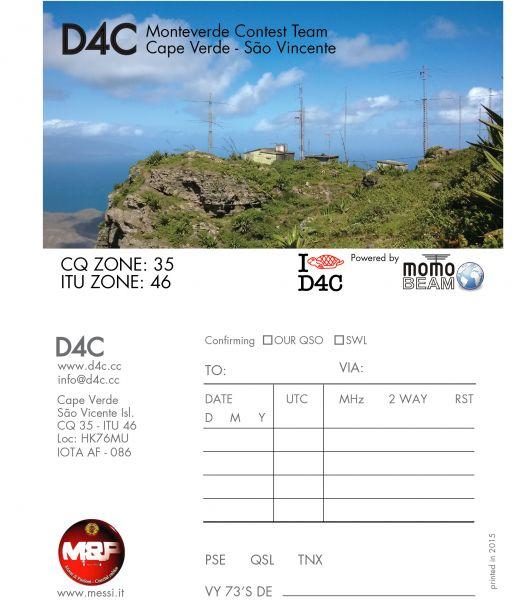 Cabo Verde Mindelo D4C QSL 2015 Cape Verde Sao Vicente