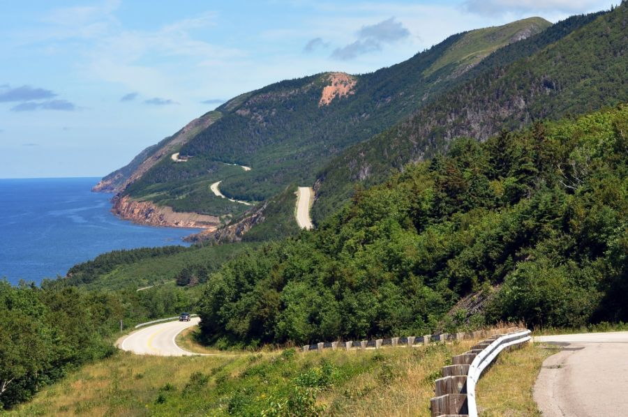 Cape Breton Island VE1DXA DX News The winding highway of the world famous Cabot Trail along the coast of Cape Breton