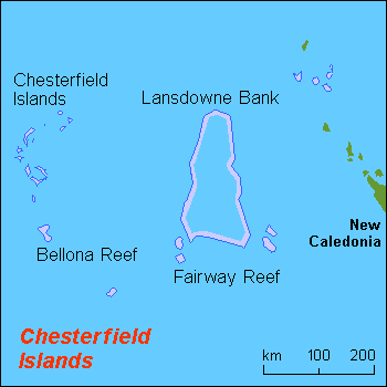 Chesterfield Islands TX3X Map
