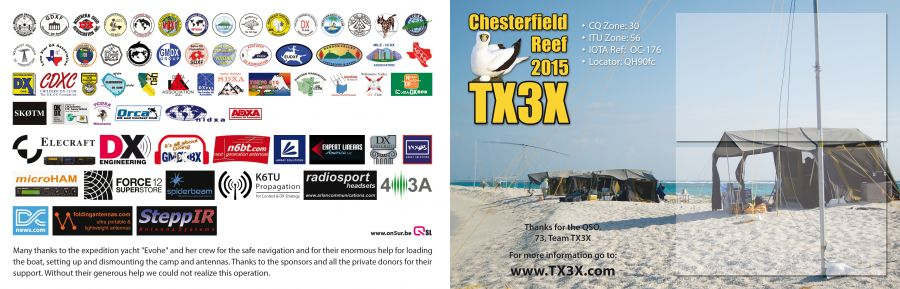 Chesterfield Islands TX3X DX Pedition QSL Card Back side