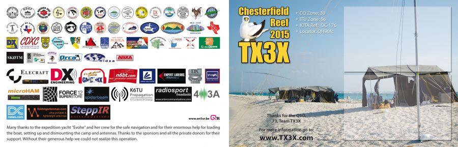 Острова Честерфилд TX3X DX Экспедиция QSL обратная сторона