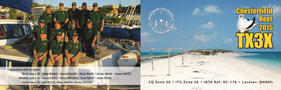 Chesterfield Island TX3X DX Pedition QSL