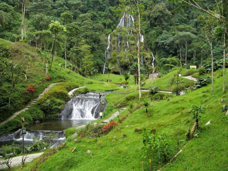 Colombia 5J1E Tourist attractions spot Waterfalls at Santa Rosa de Cabal.