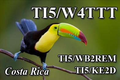 Costa Rica TI5/W4TTT TI5/WB2REM TI5/KE2D TI5/WA8NJR QSL