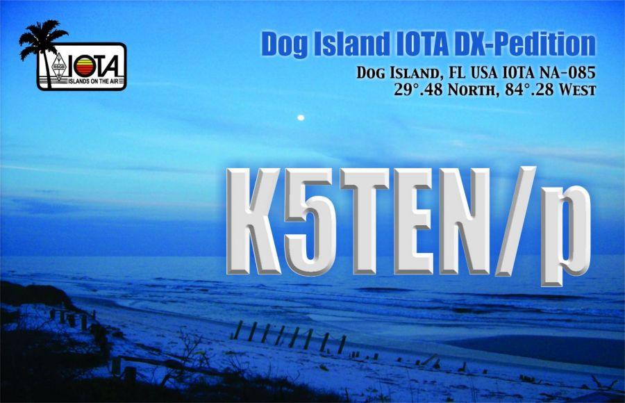 Собачий остров Флорида K5TEN/P QSL