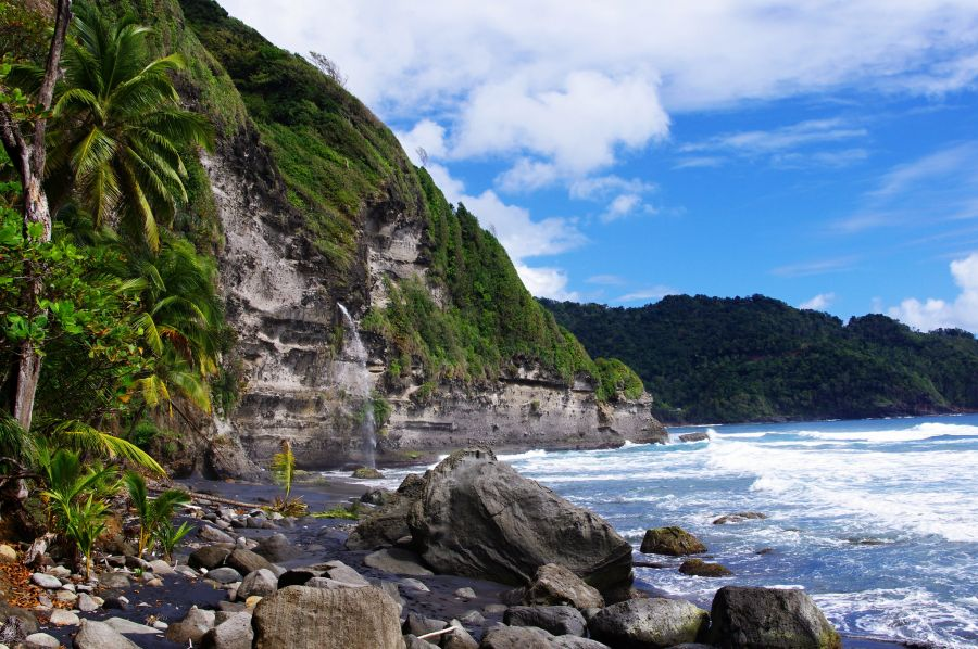 Dominica Island J79M DX News Black Sand Beach with Waterfall.