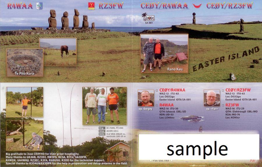 Easter Island CE0Y/R4WAA CE0Y/RZ3FW QSL