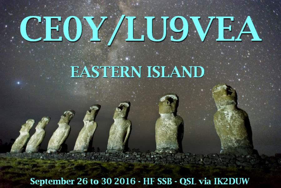Easter Island CE0Y/LU9VEA Announcement Rapa Nui Island